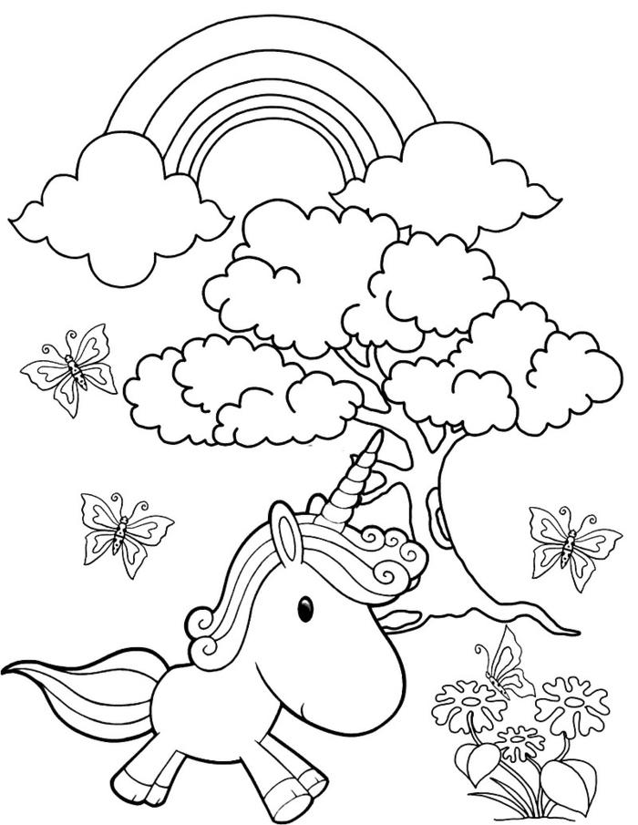 einhorn ausmalbild, kleines tier, regenbogen im himmel, grauer baum, schmetterlinge