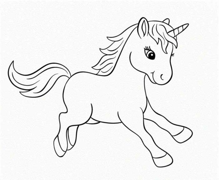 einhorn ausmalbild, süße bilder für kinder zum ausmalen, unicron zeichnung