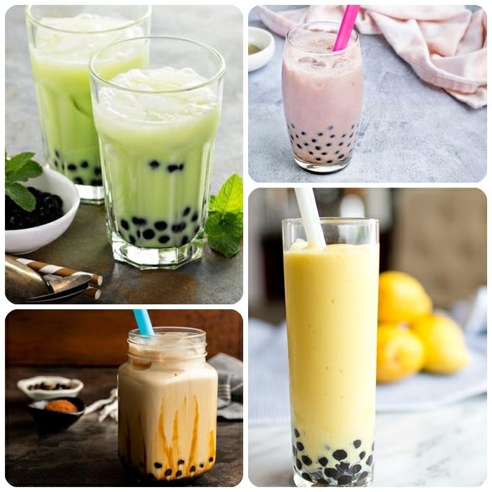 bubble tea rezept selber machen, getränk mit pfefferminze und milch, boba tea mit mango