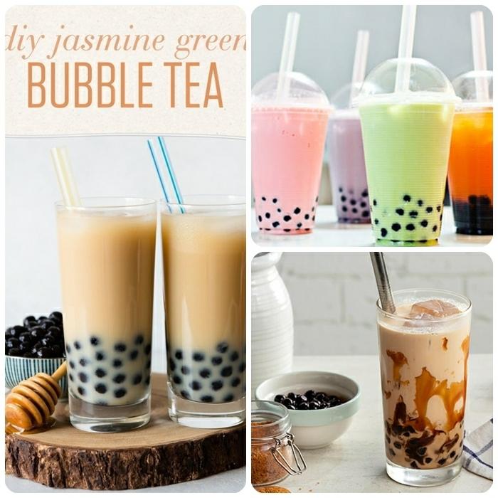 bubble tea perlen selber machen, partygetränke mit milch, boba tea mit jasmine