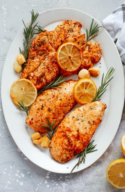 abendessen ohne kohlenhydrate rezepte kalt, hänchenfleisch mit zitrone und kräutern