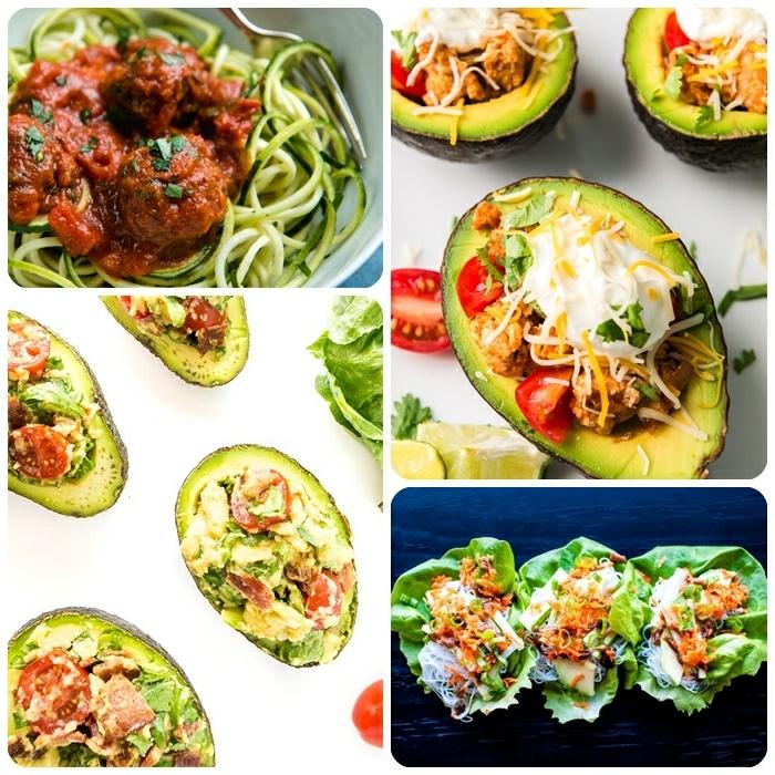 leckere gerichte abendessen, zucchini nudeln, gefüllte avocados, low carb essen