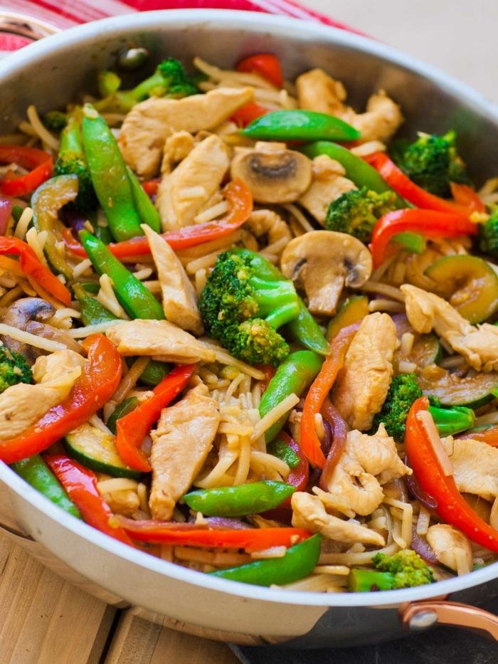 abendessen zum abnehmen, terikaji huhn, hänchenfleisch mit paprika, brokkoli und bohnen