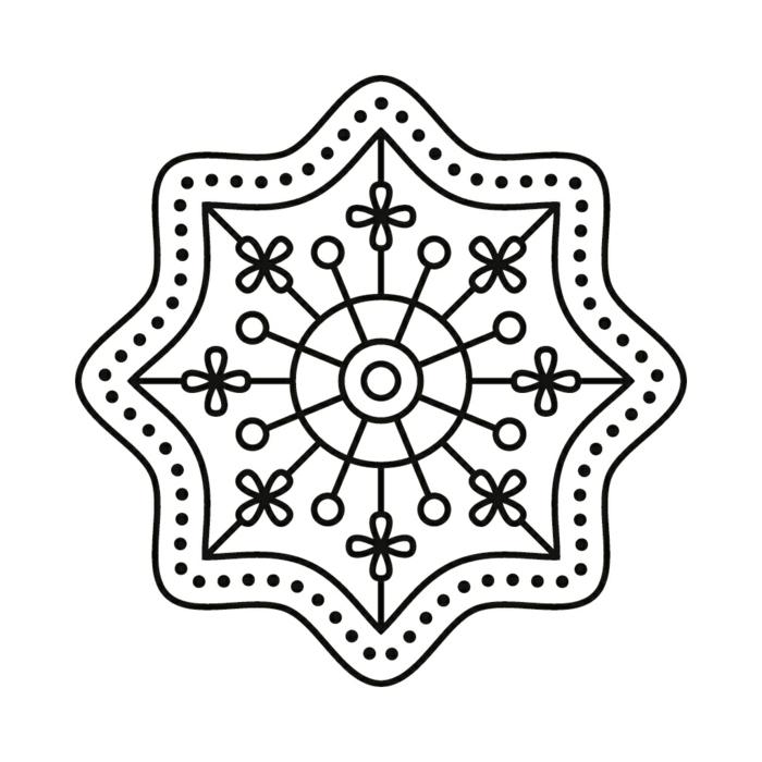 Mandalas für Kinder in der Form einer Blume mit anderen kleinen Blumen und Kreise, Malvorlagen zum ausdrucken