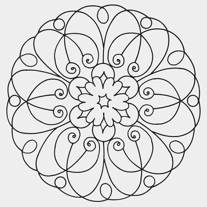 Kreative Mandalas zum ausdrucken mit Blumenmuster und anderen geometrischen Formen
