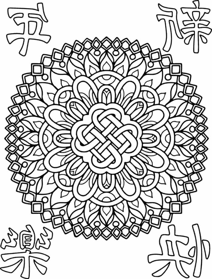 Mandala Kinder mit verschiedenen geometrischen Formen und Blumenmotiven, Bilder zum ausmalen
