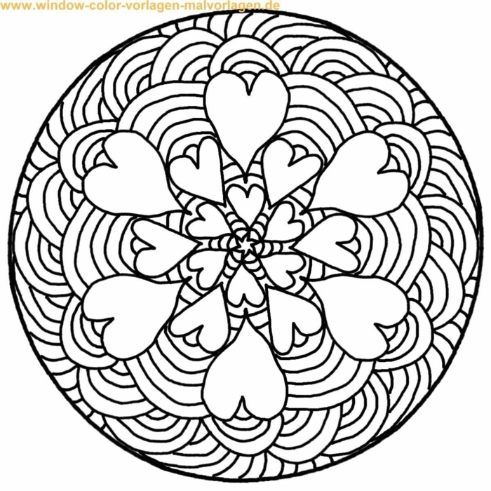 Ausmalbilder zum ausdrucken, Mandalas für Kinder mit Herzen und Regenbögen, kreisförmiges Muster