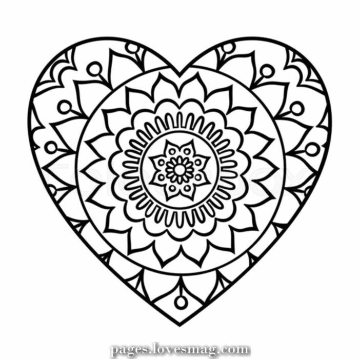 kreative Mandala in der Form eines Herzens mit einer Blume in der Mitte, Frühlingsbilder zum ausmalen