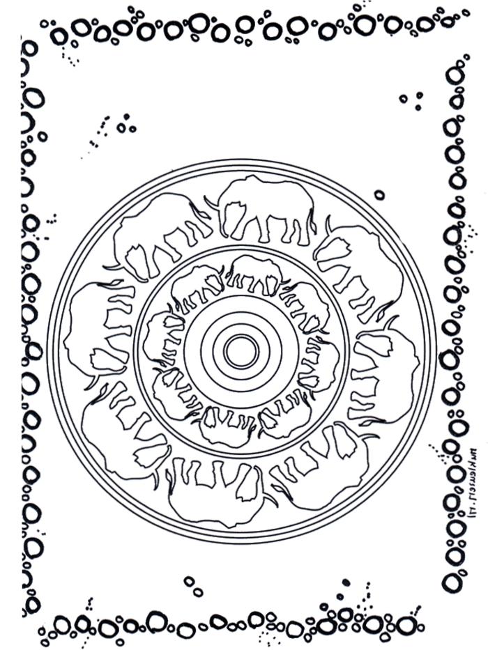 Ausmalbilder Madala Tiere, Muster mit zwei Kreisen und abgebildeten Elefanten, schwarze Blase am Rand