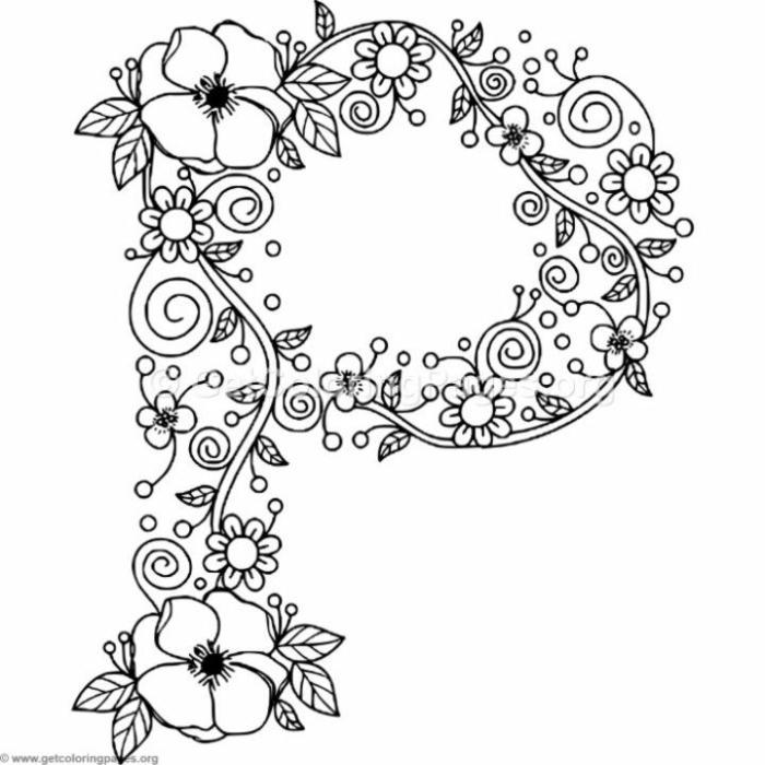Zeichnung in der Form des Buchstabens P mit kleinen und großen Blumen, Mandala Ausmalbilder