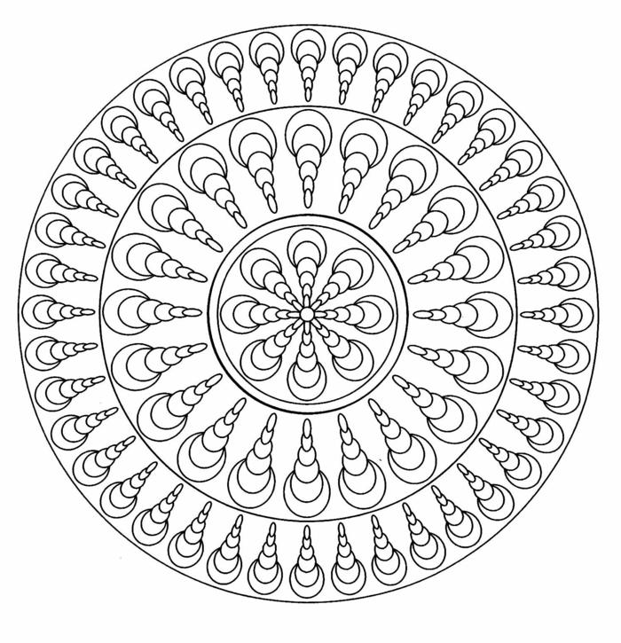 einfache Mandala zum Ausdrucken, Bild in Kreisform mit interessanten Figuren, Kreativität für Kinder