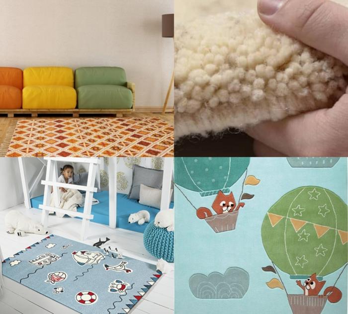 Collage verschiedene Teppiche für das Wohnzimmer und das Kinderzimmer in verschiedene Farben, Berberteppiche kaufen