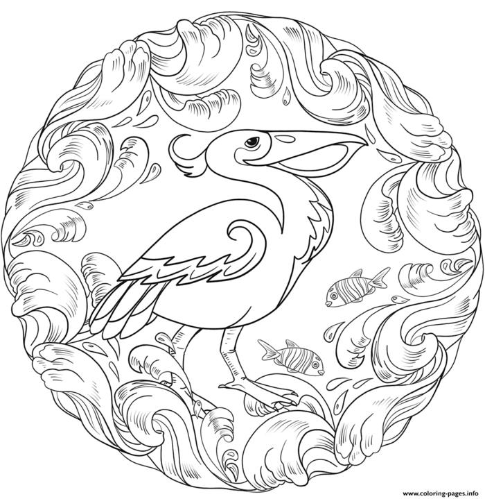 Kreisförmiges Bilde mit einem gezeichneten Pelikan und vielen kleinen Fischen, Mandala Kinder Muster