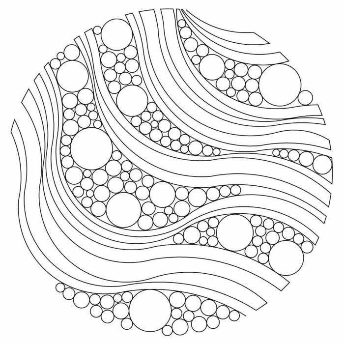 Kreative Mandalas zum Ausdrucken, Muster mit Wellenformen und kleinen und großen Kreisen