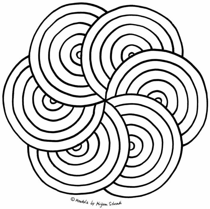 Frühlingsbilder zum ausmalen, Mandala Muster Blume in Kreisform, Ausmalbilder für Kinder