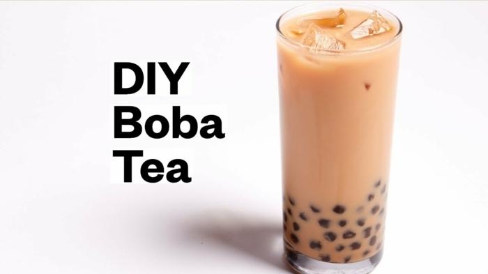 boba bubble tea ideen, leckeres getränk mit milch, schritt für schritt zubereitung