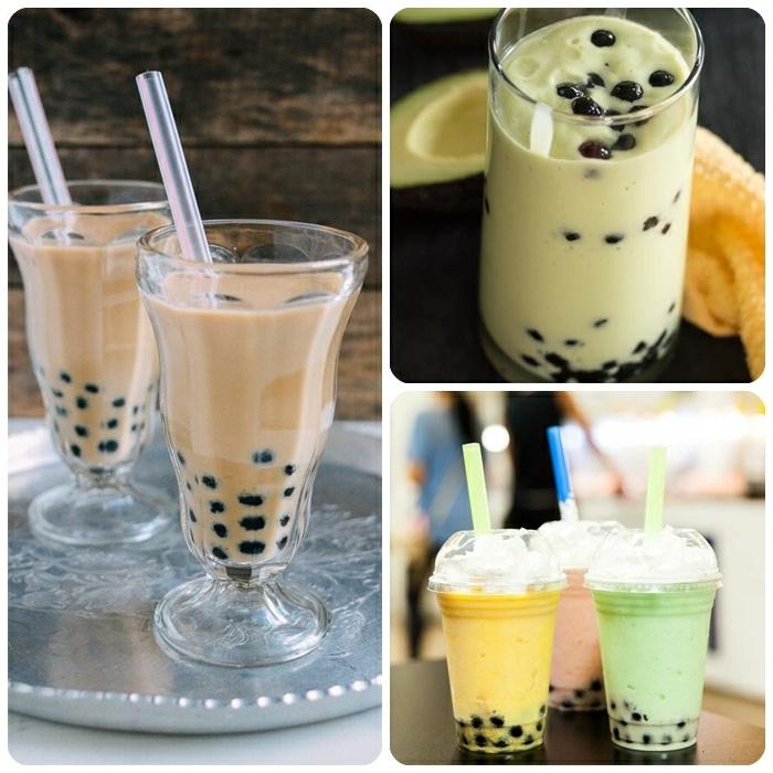 boba bubble tea, verschiedene ideen, gesunde getränke für den sommer