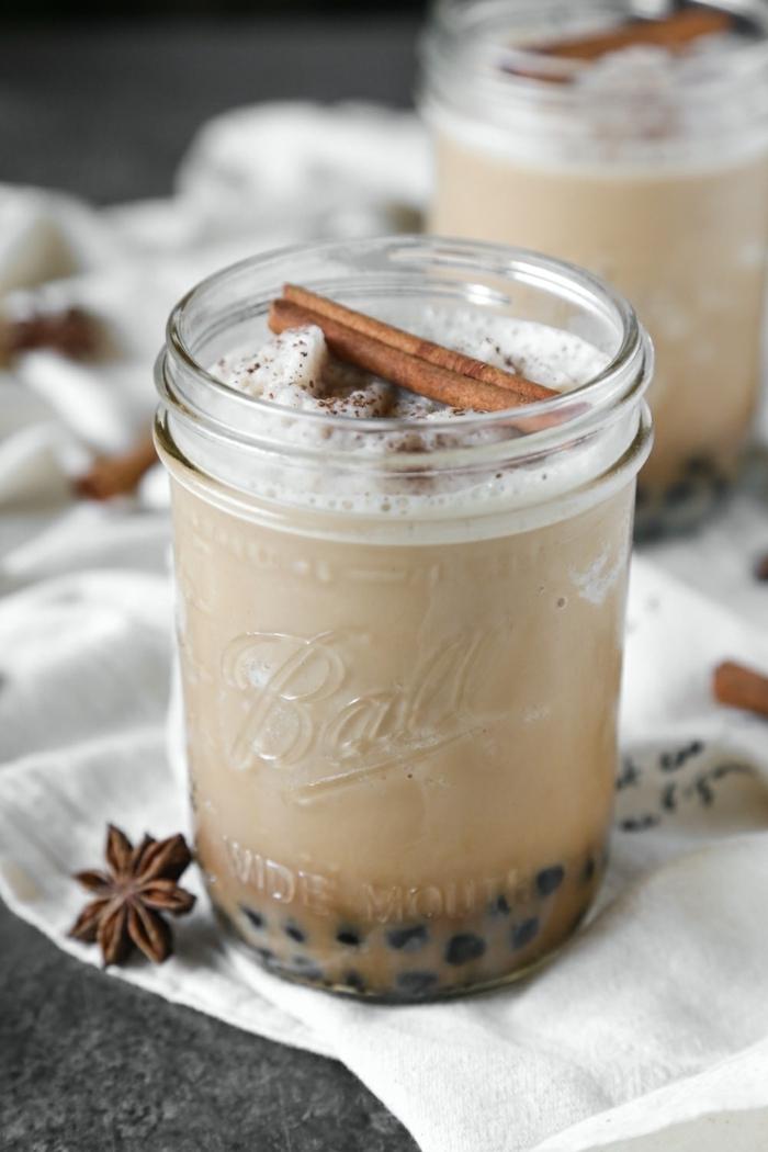 boba tea schritt für schritt, rezept mit milch und zimt, gesunde getränke