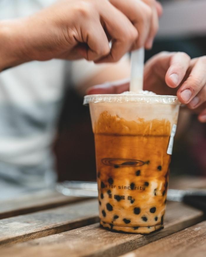 boba tea zubereiten, bubble tea mit tapioca perlen, gesunde rezepte