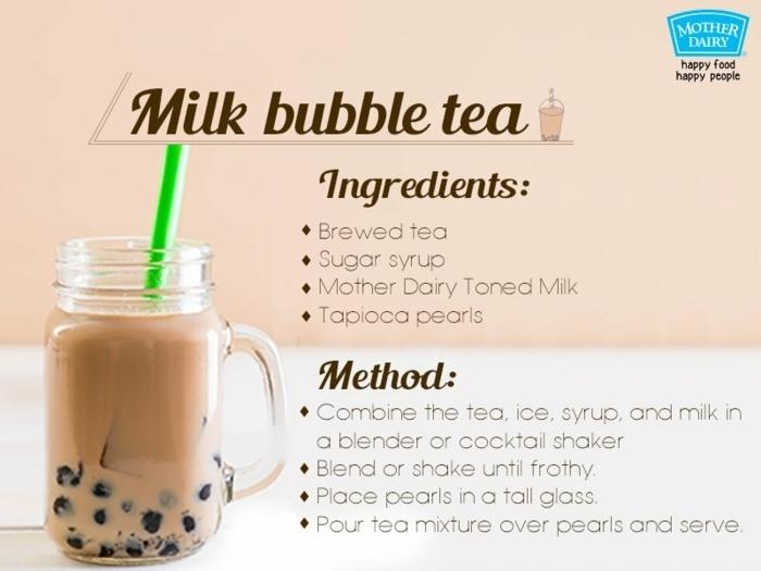 boba tea zubereitungsweise, rezepte für gesunde getränke, milchgetränk