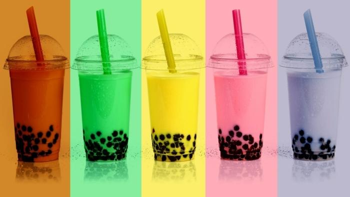 bubble tea rezept, ideen für frische getränke für den sommer, kalter tee