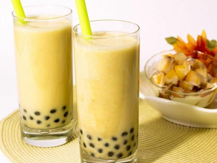 bubble tea rezept einfach und schnell, leckere milchgetränkt mit mango