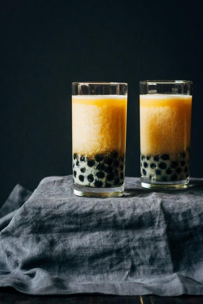 bubble tea sorten, boba tea rezept mit mango, frische milchgetränke
