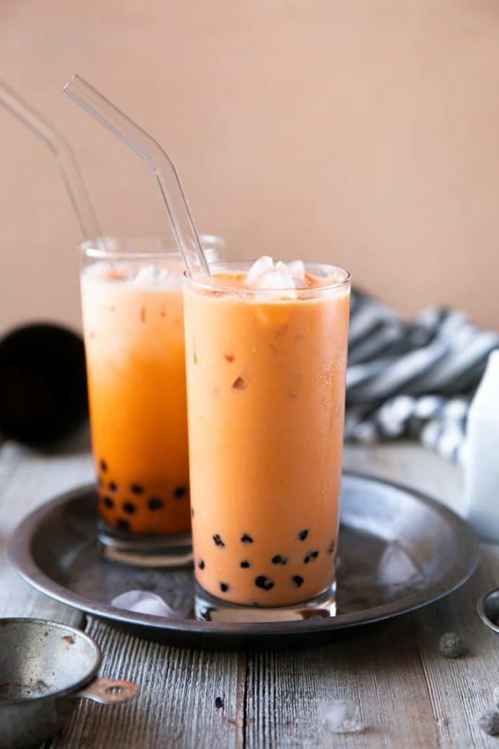 bubble tea tapioca perlen selber machen, leckeres getränk mit papaya und milch