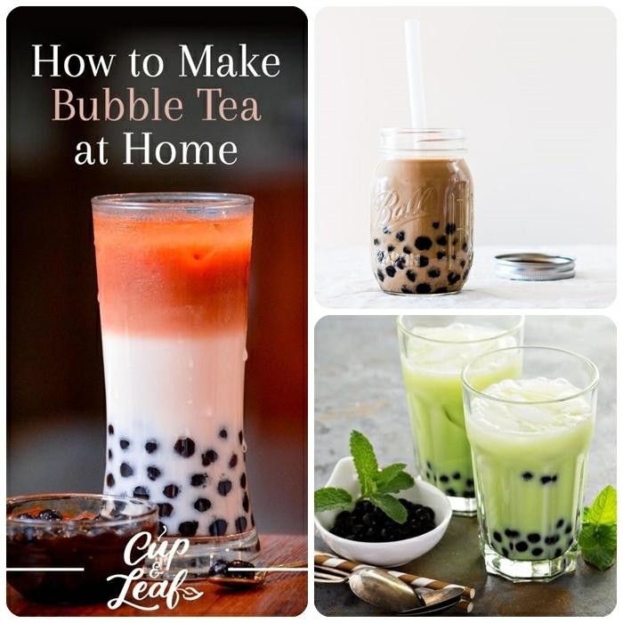 bubbles für bubble tea selber machen, tee mit milch und pfefferminze, verschiedene rezepte