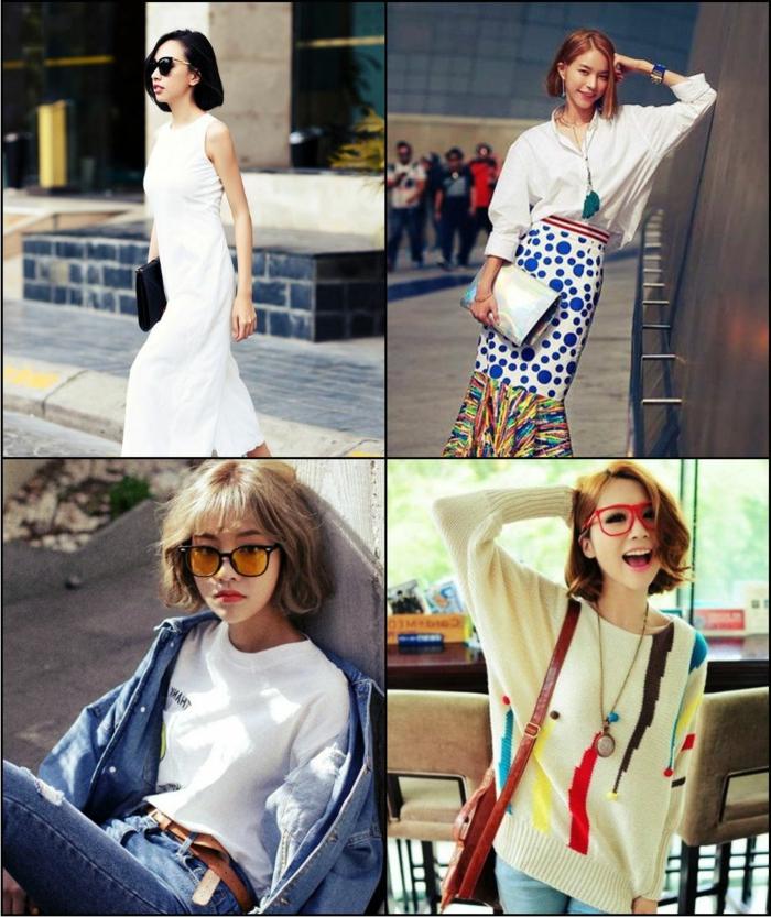 Collage von verschiedenen Bob Frisuren, Frisuren 2020 Frauen mittellang, Damen in verschiedenen Outfits