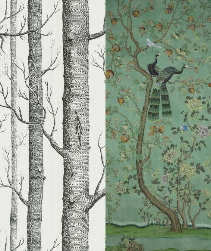 Collage von zwei Tapetenmuster mit Bäumen und Vögel, Welche Tapete passt in die Küche, Wandgestaltung Ideen, Chinoiserie Design
