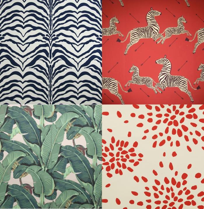 Collage von vier Tapetenmuster, Küchen Tapeten Ideen, Zebras und Martinique Design, Einrichtung Inspiration