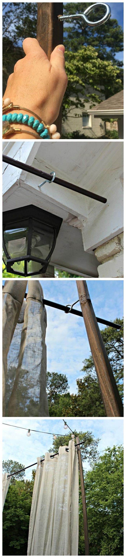 Schritt für Schritt DIY Anleitung mit Bildern, Sichtschutz Garten Ideen Selber Machen mit Gardinen