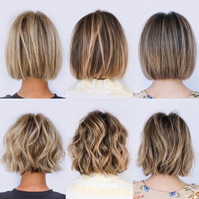 Collage mit verschiedenen Bob Frisuren 2020, glatte und lockige blonde Haare mit Strähnen