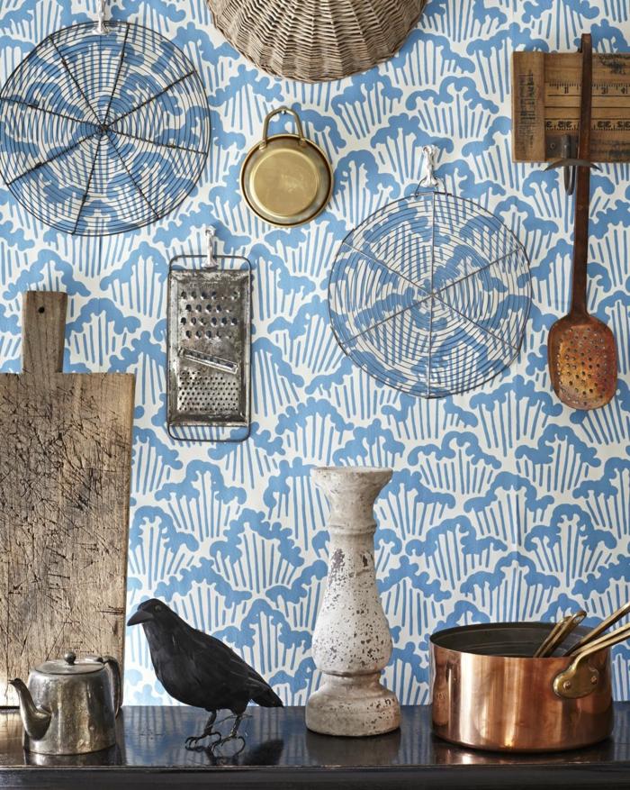 Küche Wandgestaltung, Stillleben Fotografie, Inneneinrichtung im bohemischen Stil, blaue Tapeten Ideen