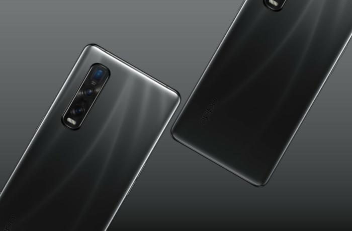 schwarze handys des chinesischen herstellers oppo, zwei smartphones oppo find x2 mit vier kamerlinsen auf der rückseite