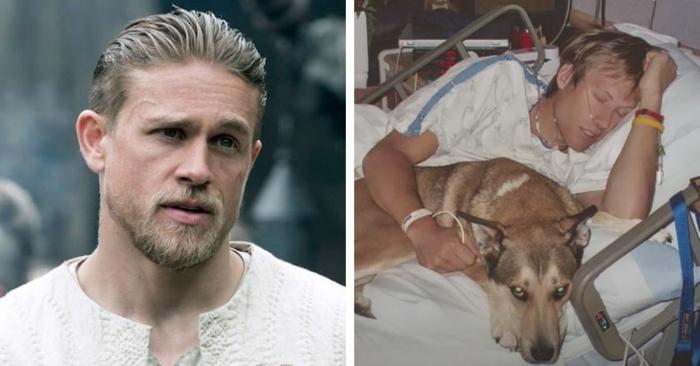 ein kranker mann und sein hund im krankenhaus, der fotograf ben moon und sein hund denali, der schauspieler charlie hunnam produziert denali