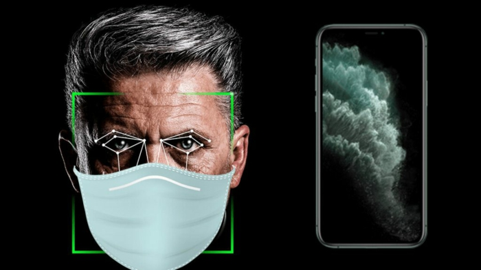 ein smartphone apple und ein mann mit mundschutz gegen das coronavirus und balterien, die app apple faceid