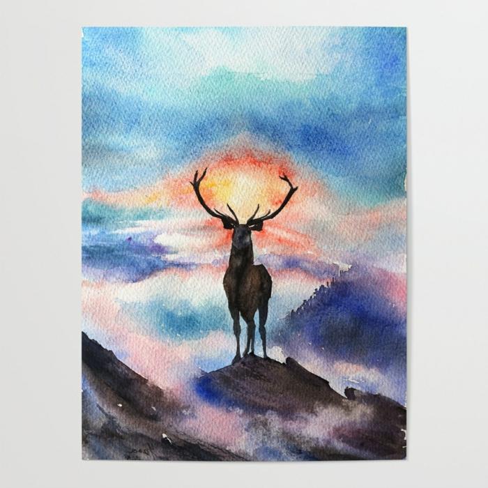 eine Auftragsmalerei, ein bild mit vielen bergen und einem großen schwarzen hirsch, sonnenuntergang