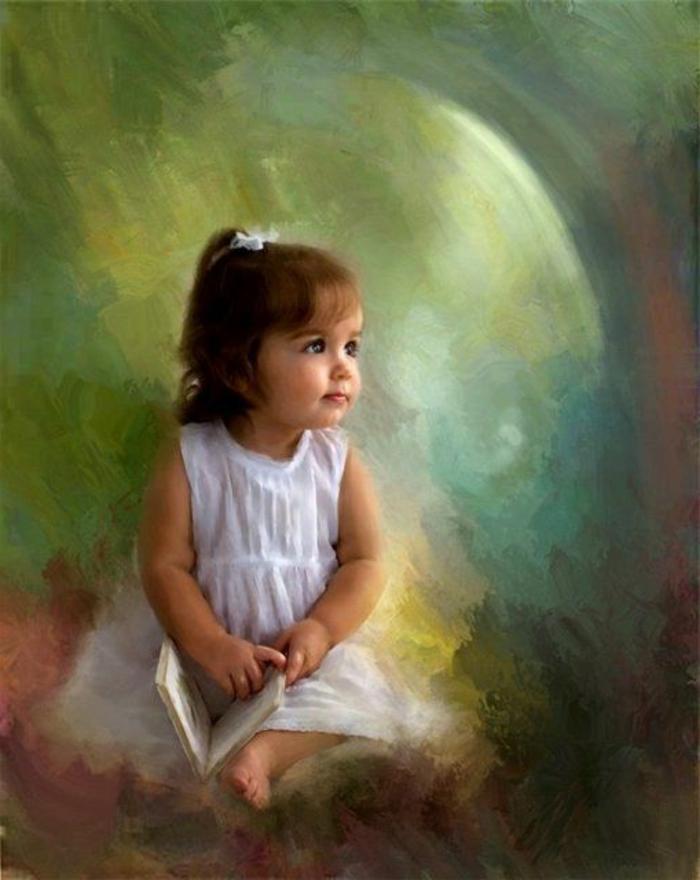 eine Auftragsmalerei mit einem kind, bild mit kleinem mädchen mit einem buch, kind mit weißem kleid