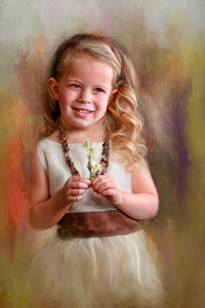 kleines mädchen mit einem weißen kleid und halskette, eine Auftragsmalerei, bild mit kind