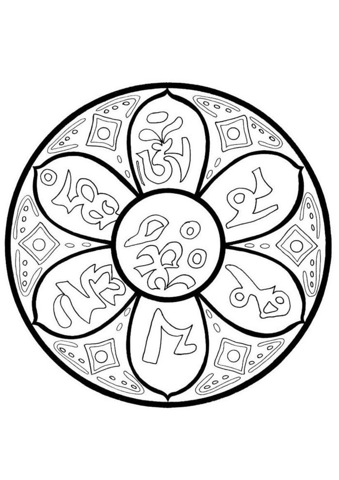 Bilder zum ausdrucken kostenlos, Mandala Muster in Blumen-Form mit verschiedenen Figuren als Dekoration