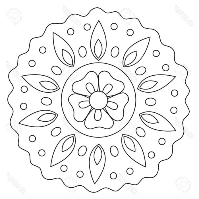 Bilder zum ausdrucken kostenlos, Mandala mit Blumen und Blätter Muster zum Ausmalen für Kinder