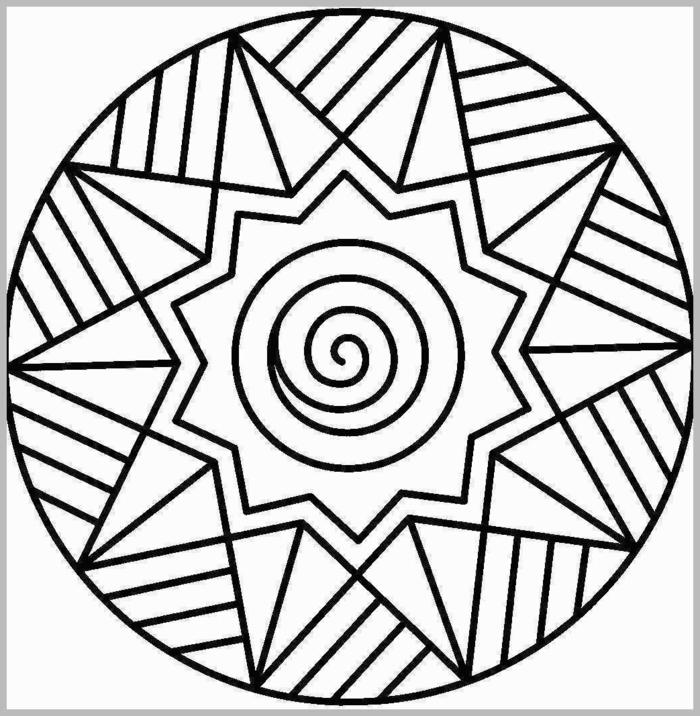 Ausmalbilder kostenlos ausdrucken, Mandala Muster mit Sternmotiv und geometrischen Formen