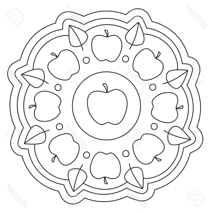 kreisförmiges Bild mit abgebildeten Äpfeln und Blättern, Mandala zum ausmalen für Kinder