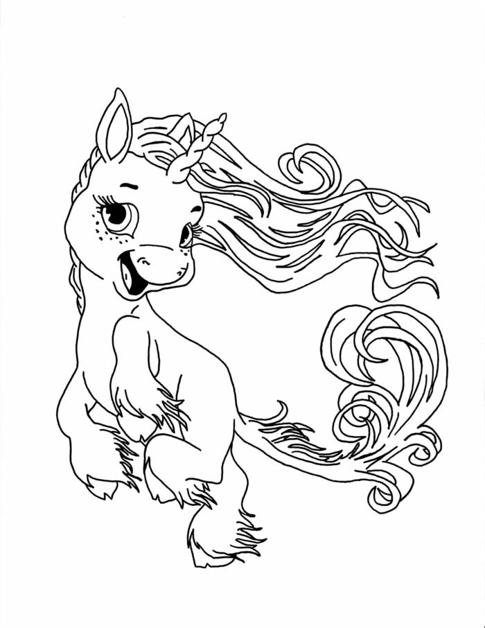 einhorn ausmalen, schwarz graue zeichnung, malvorlagen für kinder