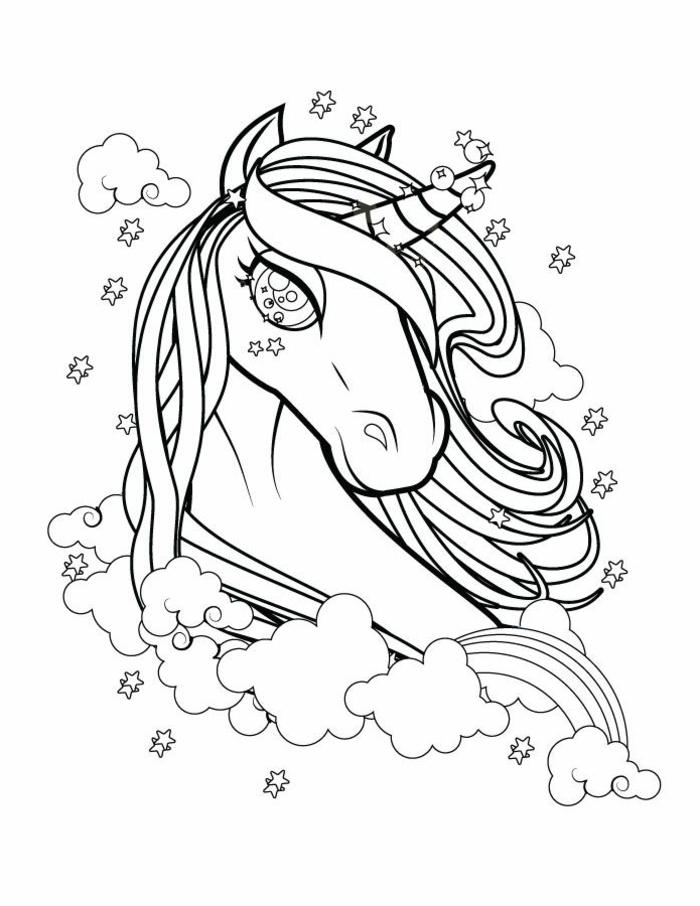 einhorn ausmalen, unicorn pinzessin, sterne und wolken, schwarz graue zeichnung