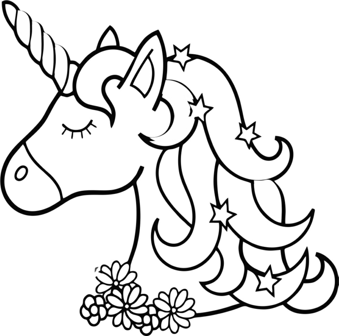 einhorn bilder zum ausmalen, unicorn zeichnen, sterne in der mähne