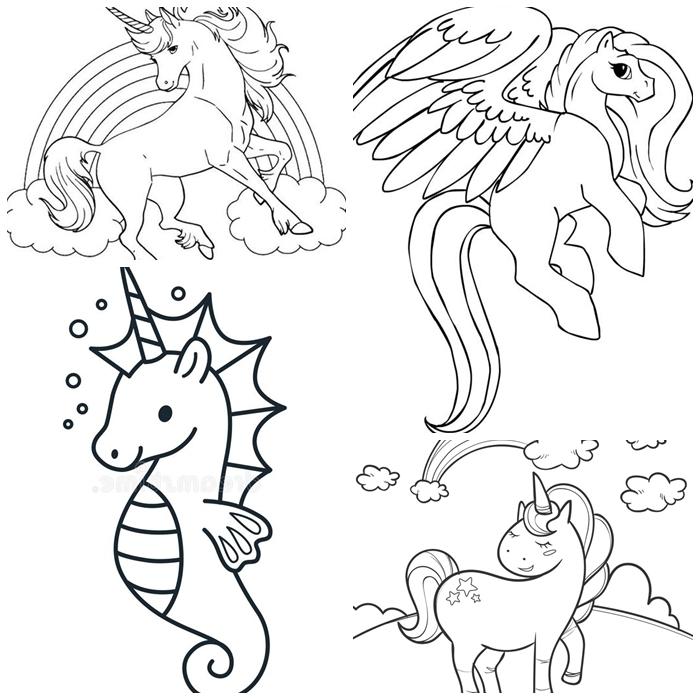 einhorn bilder zum azsmalen, unicron zeichnen, vorlage mit kinderbilder