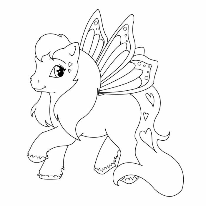 einhorn zum ausmalen, ausmalbilder mit unicorn als motiv, schmetterling flügel